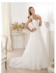 hochwertige schönes Tüll und Spitze Kappenhülse Liebsten A-Linie rückenfreies Hochzeitskleider BDF075