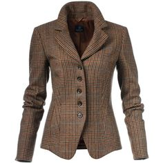 Checked blazer, pure new wool ($305) ❤ liked on Polyvore featuring outerwear, jackets, blazers, short-sleeve blazers, wool jacket, slim blazer, brown jacket and wool blazer