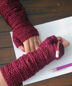 Free Knitting Pattern for Gansey Wristers - Fingerless mitts with textured stitch sections. Designed by Kalliopi Aronis