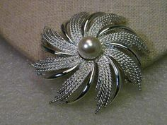 Vintage Silver Tone Sarah Coventry Spiral Brooch with faux pearl center #SarahCoventry
