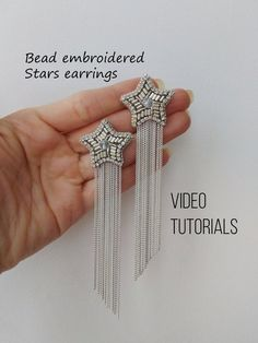 Bead embroidery pattern Stars earrings tutorial and pattern . - Bead embroidery pattern Stars earrings tutorial and pattern Diy Jewellery making patterns - Bead Embroidery Tutorial, Bead Embroidery Patterns, Bead Embroidery Jewelry, Beaded Embroidery, Modern Embroidery, Loom Patterns, Star Earrings, Beaded Earrings, Beaded Jewelry
