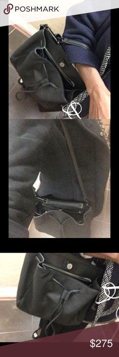 Rebecca Minkoff Drawstring Satchel Black 3 section satchel/crossbody with strap and dust bag Rebecca Minkoff Bags Satchels
