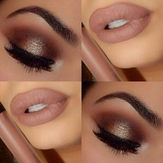 Golden Bronze Halo Eyes paired w/ a Matte Nude Lip - Gorgeous!!