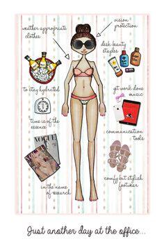 Quotes Beach girl tanning illustration