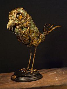 Pájaro mecánico del Proyecto Hotteterre. de La Mathomería. Steampunk Bird.