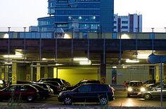 Parking Skala shopping center in the evening