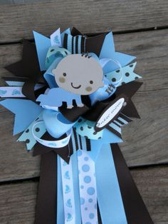 Ribbon mum baby shower blue and brown