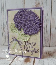 handmade greeting card ... big fluffy die cut hydrangea fills the card front ... Thoughtful Branches ... great card!