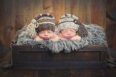Tassel Hat twin boys newborn photography prop by zellashop