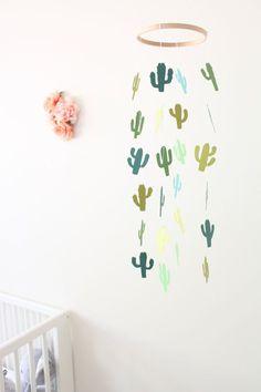 Cactus Mobile Baby Girl Boy Nursery Crib Cream by TheDreamBarn