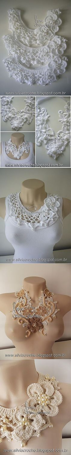 69 ideas for crochet lace collar stitches Col Crochet, Crochet Lace Collar, Crochet Motifs, Freeform Crochet, Irish Crochet, Crochet Stitches, Crochet Patterns, Thread Crochet, Crochet Baby
