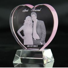 IFOLAINA Customized/Personalized Crystal Pink Heart Award Wedding Decoration Crystal Wedding Memories Souvenirs 3D Laser Crystal