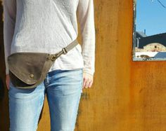 Fanny Pack in Charcoal Gray Waxed Cotton : Hip Bag Belt Bag