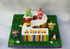 Cute Teletubbies cake.                                                       … Teletubbies Birthday Cake, Teletubbies Cake, 2 Birthday Cake, 2nd Birthday Parties, Boy Birthday, Moon Pies, Cake Designs, Diy For Kids, First Birthdays