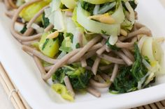 Soba Spinach Leek Salad Japanese buckwheat noodles with steamed leeks and baby spinach dressed with a hint of wasabi. Buckwheat Noodles, Baby Spinach, Celery, Green Beans, Cabbage, Salads, Diet, Vegetables, Salad