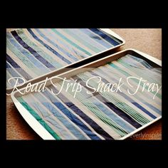 Make a road trip snack tray using a cookie sheet (Dollar Tree!) and a vinyl tablecloth, cut to size. Keep baby wipes handy (duh!) to wipe 'em down after each use, then store them back in the pocket behind the seat. Road Trip Essen, Road Trip Snacks, Travel Snacks, Travel Activities, Car Snacks, Buy Used Cars, Vinyl Tablecloth, Camping Hacks, Camping Ideas