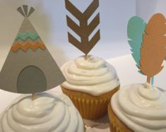 Tribal Cupcake Toppers by modestedge on Etsy Birthday Cup, Third Birthday, First Birthday Parties, First Birthdays, Tribal Baby Shower, Baby Boy Shower, Baby Shower Themes, Baby Shower Decorations, Baby Shower Ideas