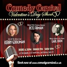"""""""Valentines Day Show at The Grand"""" on 14th February, 2015 at 8:00 pm - 10:00 pm. Special Valentine's Day comedy show featuring Kerry Godliman, Pete Firman and Earl Okin, Pete Jonas as MC. Show and Dinner tickets £65. Category: Arts 