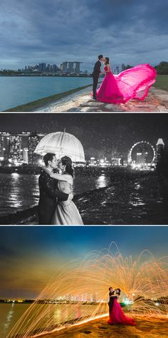 A pre-wedding shoot showcasing views of Singapore's city skyline...