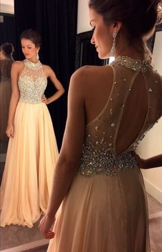 2016 Champagne Halter Prom Dresses Crystals Beaded Open Back Chiffon Long A-line Luxury Evening Gowns