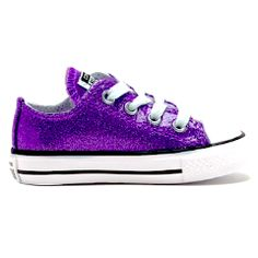 9d08c80b0ab3 Girls Toddler Sparkly Glitter Converse All Stars Crystals Sneakers Shoes  Purple