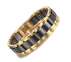 Quubb Men's Gold & Black Ceramic Stainless Steel Magnetic... https://www.amazon.com/dp/B01ISM66HC