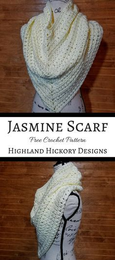 Crochet the beautiful Jasmine Scarf with this free pattern! Using only easy stitches. Is a cross between an infinity scarf and a triangle scarf. Crochet Scarves, Crochet Shawl, Crochet Yarn, Crochet Clothes, Crochet Stitches, Crochet Dresses, Love Crochet, Beautiful Crochet, Easy Crochet