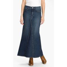 NYDJ 'Brooke' Denim Maxi Skirt Louisiana Wash 0 ($70) ❤ liked on Polyvore