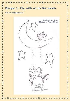 fly with the moon Wool Applique, Applique Patterns, Applique Designs, Craft Patterns, Embroidery Applique, Embroidery Stitches, Cross Stitch Patterns, Quilt Patterns, Embroidery Designs