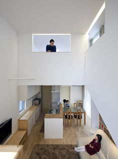 Interesting Mezzanine Design Ideas for Small Rooms: Cool Open Wall Frames To Allow Everybody Take A Peak Other Rooms Of Modern Mezzanine Home Interior Design Japanese Home Decor, Japanese House, Interior Exterior, Interior Architecture, Interior Design, Floor Design, House Design, Deco Champetre, Compact House