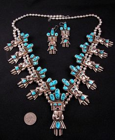 Doris Smallcanyon Navajo Turquoise Kachina Squash Blossom Necklace Earrings Set