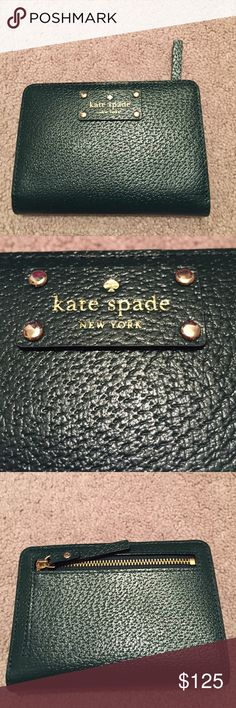 """NWT Kate spade """"tellie"""" wallet New with tags Kate spade """"tellie"""" wallet. Color is """"night forest"""". Inside of wallet has space for cash as well as cards, back of the wallet has a zippered compartment for change kate spade Bags Wallets"""
