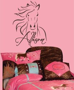 Western Horse Pony vinyl Wall Decal - Personalize for teen cowgirl