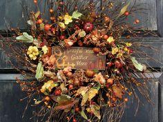 Pumpkin Floral Wreath - Grateful Hearts Wood Sign - Rustic Decor - Front Door Wreath - Fall Decor - Thanksgiving - Autumn - Fall Wreath