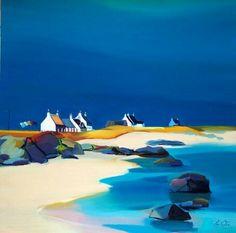 Bayside Hamlet, by Pam Carter, Scottish Artist Seaside Art, Coastal Art, Beach Art, Abstract Landscape, Landscape Paintings, Paintings I Love, Art Club, Painting Inspiration, Amazing Art