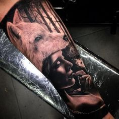 traditional wolf girl tattoo - Google Search