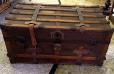 . Vintage Steamer Trunk, Vintage Trunks, Packing, Antiques, Bag Packaging, Antiquities, Antique, Old Stuff, Vintage Suitcases