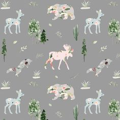 Floral Woodland Fabric by the Yard. Quilting Cotton, Knit, Jersey, Minky. Forest, Camping, Watercolor Florals, Gray, Moose, Deer, Fox, Fawn Grey Fabric, Cotton Fabric, Woodland Fabric, Kona Cotton, Nursery Neutral, Fabric Material, Floral Watercolor, Vibrant Colors, Moose Deer