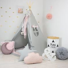 Childrens teepee, playtent, tipi, zelt, wigwam, kids teepee, tent, play teepee, TEEPEE WITH MAT- Fig Princess by MamaPotrafi on Etsy