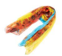 Blue yellow change scarf women autumn summer 100% mulberry silk georgette foulard long silk scarves hijab silk scarf 177*105cm