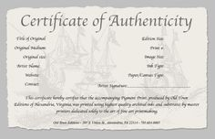 certificate of authenticity art
