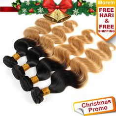 Color 1B/33 Peruvian Straight Hair Weave 1 Piece Ombre Hair Extensions Two Tone remy Hair Bundles