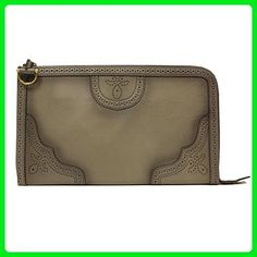 237baa5e3e Gucci Grey Duilio Brogue Zip Oversized Leather Clutch Handbag Bag - Top  handle bags (*