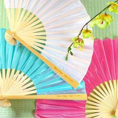 Summer Party Favors   Personalized Silk Fans by Beau-coup
