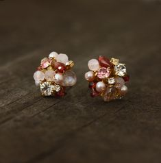 These little pink and red rhinestone stud earrings are perfect and special for Valentines Day! They are made from tiny pink freshwater pearls,