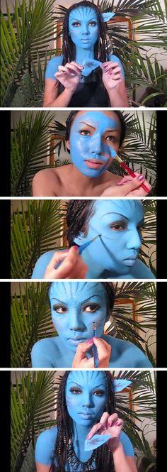 'Neytiri 'Avatar Halloween Make-upTutorial | Click Pic for 30 Easy DIY Halloween Costumes for Women 2014 | Last Minute Halloween Costumes for Women