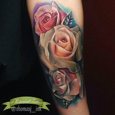 Made by TJ Schunemann Tattoo Artists in New Hampshire, US Region Colorful Rose Tattoos, Floral Back Tattoos, Colorful Roses, Inkbox Tattoo, 100 Tattoo, Piercing Tattoo, Piercings, Upper Back Tattoos, Botanical Tattoo