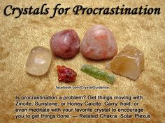Crystal Guidance: Crystal Tips and Prescriptions - Procrastination: Zincite, Honey Calcite, Sunstone Crystal Uses, Crystal Healing Stones, Crystal Magic, Crystal Room, Crystal Palace, Crystal Cluster, Crystals And Gemstones, Stones And Crystals, Gem Stones