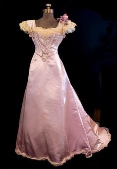French beaded satin ball gown, c.1900, from the Vintage Textile archives.