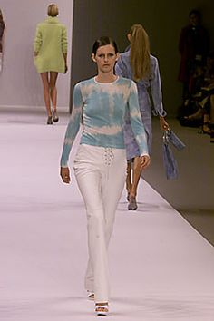 Céline | Spring 2000 Ready-to-Wear | 07 White/blue tie-dye long sleeve top and white trousers